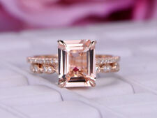 2.50Ct Emerald Cut Morganite Promise Wedding Bridal Ring Set 14k Rose Gold Over