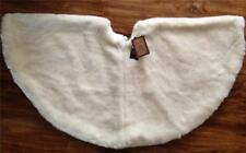 "Faux Fur Christmas Tree Skirt 52"" Luxury Well Dressed Home Round Off White"