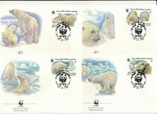 D115428 Polar Bear WWF Complete Set of 4 FDC's Russia