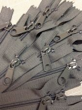 "WHOLESALE LOT OF 10 LONG PULL HANDBAG ZIPPERS 14"" Slate Gray #4 (5.1mm) Nylon"