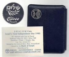 1980 32nd ANNIVERSARY ISRAEL-EGYPT PEACE BU SILVER COIN +COA+ CASE