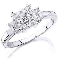 2.70 Ct. 3 Stone Asscher Cut Diamond Ring & Side Emarald Cut diamonds 14K Gold