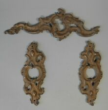 Lot 3 French France Brass Acanthus Leaf Scroll Furniture Elements ca 20th c.
