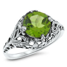 GENUINE PERIDOT ANTIQUE DESIGN 925 STERLING SILVER RING SIZE 10,   #678