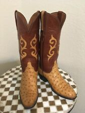 VINTAGE LUCCHESE DISTRESSED OSTRICH BROWN BUTTERSCOTCH RANCH WORK BOOTS 7 C