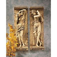 Renaissance Era Water Maiden Set of 2 Antique Stone Finish Wall Frieze Sculpture