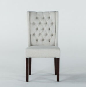 Set of 2 Off-white linen dining chairs dark legs free shipping
