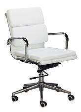 Eames Replica Mid Back Office Chair - WHITE Vegan Leather, high density foam