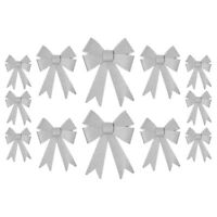 Christmas Glitter Bow Decorations - Pre-tied For Tree / Gifts / Table - Silver