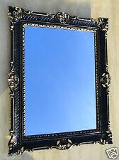 Wandspiegel Barock Großer Spiegel Schwarz gold hochglanz 90x70 Bilderrahmen
