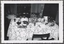 Vintage Photo Christmas Decorations on Holiday Dinner Table 743024