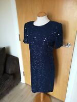 Ladies CANDA Dress Size 12 Navy Sequin Beaded Pencil Party Evening Wedding