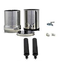Travel Berkey Water Filter 2 Black Filters + Stainless Steel Spigot NEW