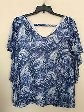 New NY Collection Woman's Cape Sleeve Semi Sheer Top & Tank Blue / Wh   2X   C38
