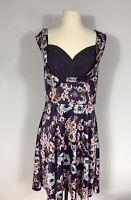 Lindy Bop Purple Floral Print Sleeveless Retro Sweetheart Neck Dress Women's L