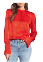 NWT $79 Treasure & Bond Blouse Satin Tunic Blouse Satin Red Orange Size M