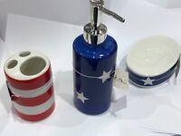Red White and Blue Bathroom Soap Dispenser, Brush Holder and Soap Holder Set
