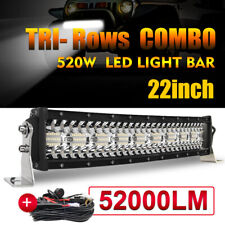 Tri-Row 22inch 520W Curved LED Light Bar Spot Flood Truck Offroad+wiring harness