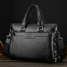 "Black 15"" Laptop Briefcase Business Handbag Leather Notebook Phone Document Bag"