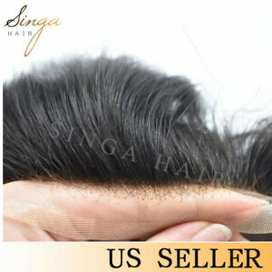 Welded Lace Front Mens Toupee Hairpiece Fine Mono Poly Hair Replacement System