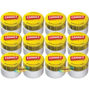 12x Carmex Classic Moisturising Lip Protection Balm Pot Dry Chapped Lips 7.5g