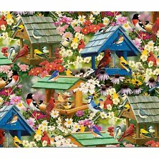 David Textiles ~ Bird Houses Feeders Song Birds ~ 100% Cotton Quilt Fabric Bty