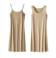 Women Full Slip Scoop Neck Cami Under Mini Dress Basic Plain Liner Dress