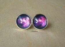 Galaxy Cosmos Dark Purple / Black Stud earring,Beautiful Gift For Her