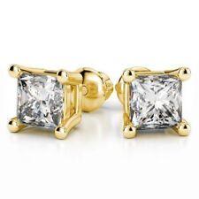 0,50 Cts Princess Cut Natürliche Diamant Ohrstecker In Solides 18 Karat Gelbgold