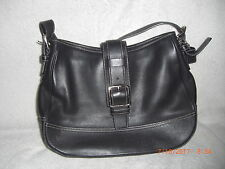Vintage Coach Black Leather Hampton Hobo Flap Handbag, #7583