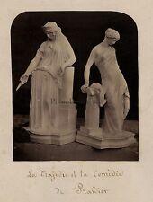 La tragédie et la comédie sculpture Pradier Vintage albumine