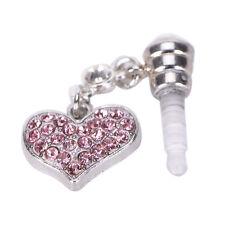 Universal 3.5mm Crystal Heart Dangle Anti Dust Earphone Jack Plug for IPhone SCP