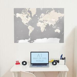 Large Grey A1 Decorative Map of the World Print Wall Art Home Decor Globe Atlas