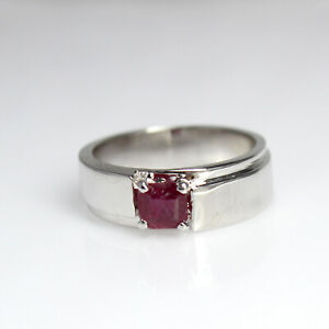 Natural Ruby Square Cut Gemstone 925 Sterling Silver Men's Wedding Ring