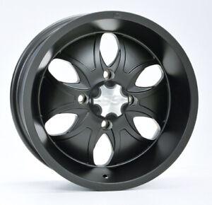 ATV UTV Alloy Wheel Rim 14x7, 4/110 PCD, 5+2 offset, ITP System 6 Black finish