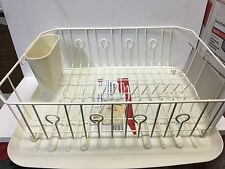 LARGE RUBBERMAID KITCHEN DISH DRAINER RACK SET & SLOPED TRAY DRAIN BISQUE ALMOND