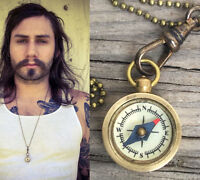 Compass Necklace Antique bronze gold brass pendant chatelaine Men Works 27in