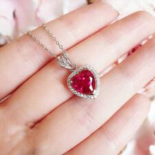 1Ct Heart Red Ruby Sim Diamond Women's Halo Pendant 14k White Gold FN 925 Silver