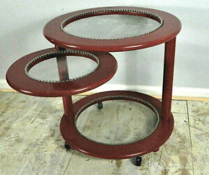 industrial side table Indoor/outdoor table red trimmed in bike chain