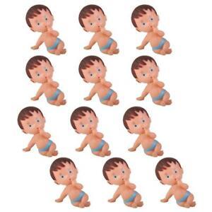 12pcs Mini Plastic Babies Boy Girl Baby Shower Party Favors Decor Pink/Blue 7cm