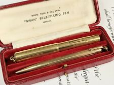 More details for *stunning* swan mabie todd gold filled ladies fountain pen & pencil set boxed