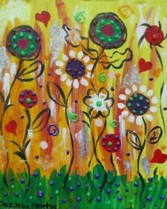 """Yellow Fantasy Flowers  acrylic & Glitter on Canvas 10"""" x 12"""" By Casimira"""