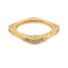 Indian Fashion Bollywood Square Bangle Bracelet in Shiny Gold Plated with Zircon