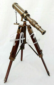 "Nautical antique brass 9"" telescope w/ wooden tripod stand christmas desk decor"