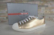 Prada Gr 39,5 Sneakers Schnürschuhe Schuhe 3E5876 Lammleder platin NEU UVP 370€