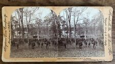 Antique Stereoview Bayonet Drill Company F 7th Infantry Camp Chickamauga GA