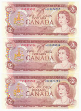 Lot of 3 Uncirculated Bank of Canada $2 Replacement Notes - *UG5874755-57