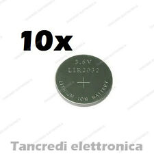 10X Batteria ricaricabile LIR2032 litio bottone rechargeable coin battery