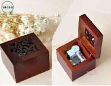 SQUARE CARVING WOOD WIND UP MUSIC BOX : CANON IN D