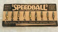 Speedball, Vintage Pen Nibs, Card w/8 of 9 original nibs, plus wooden penholder